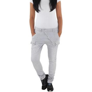 Damen Baggy Boyfriend Chino Jeans Harem Pump Aladin Hüft Stretch Hose Grau