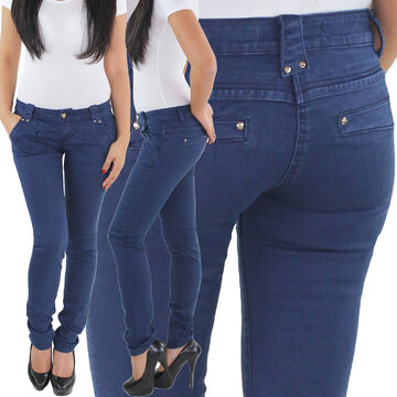 Damen Jeans Röhren Skinny Stretch Hüft Hose Chino Baggy Boyfriend Slim Fit Blau