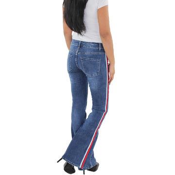 Details zu SOTALA Damen Schlaghose Bootcut Flared Hüft Stretch Jeans Hose Seitenstreifen