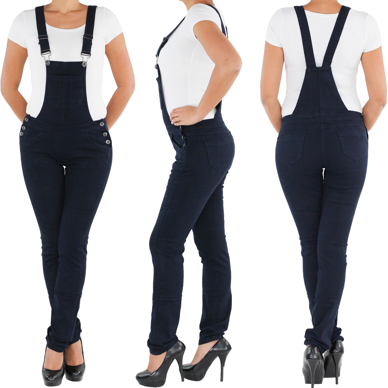 damen overall latzhose jeans hose h ftjeans r hrenjeans latzjeans stretch skinny ebay. Black Bedroom Furniture Sets. Home Design Ideas