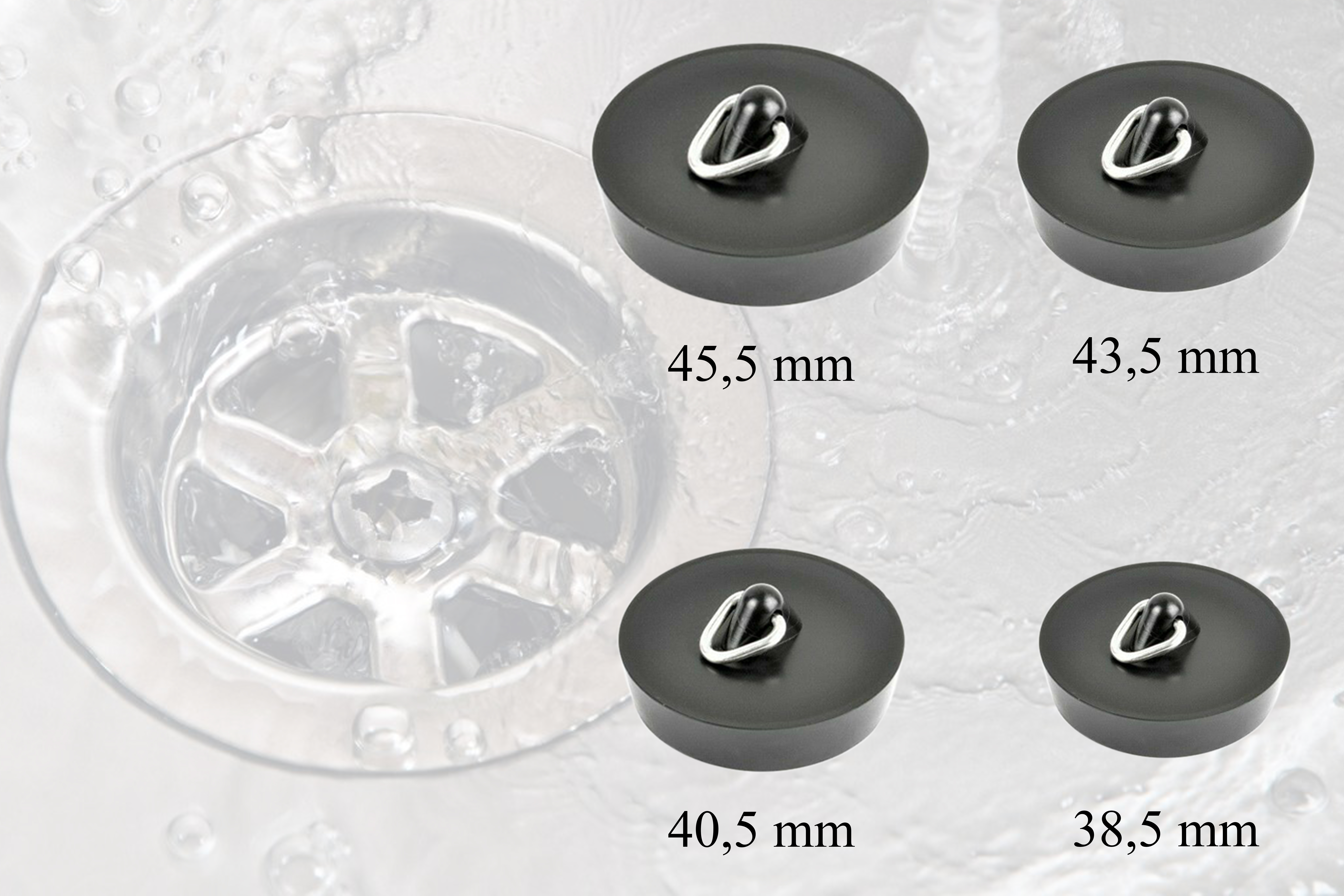 Abflußstopfen Stöpsel Stopfen in 4 Größen für Spüle Waschbecken Badewanne Dusche