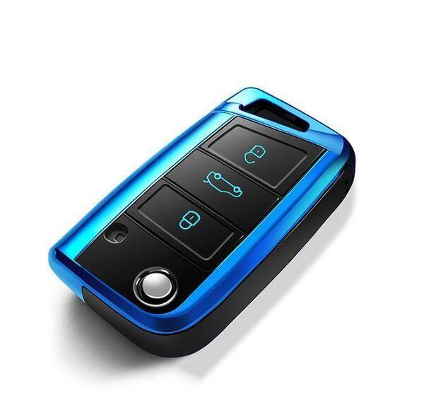 Skoda Black-Glossy Silikon Cover Case Volkswagen Seat blau SEK7-V3-4