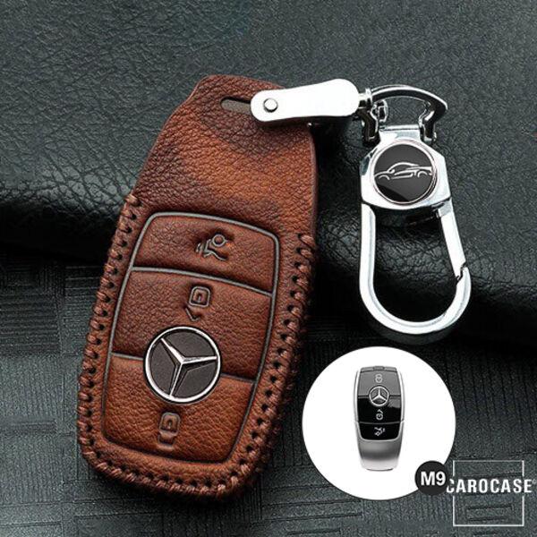 Leder Schlüssel Hülle Cover für Mercedes-Benz A B C E S Klasse Class LEUCHTEND!
