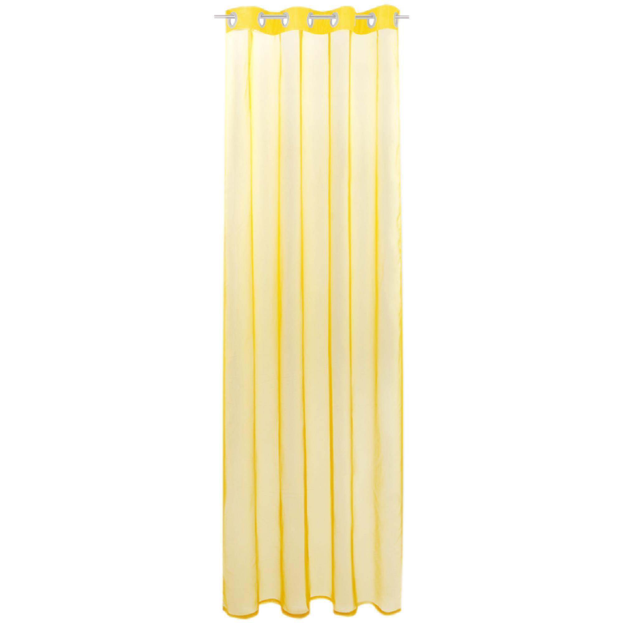 Gardine mit Ösen, Transparent Voile, Uni Ösenschal Vorhang viele Größen / Farben gelb - lemongelb