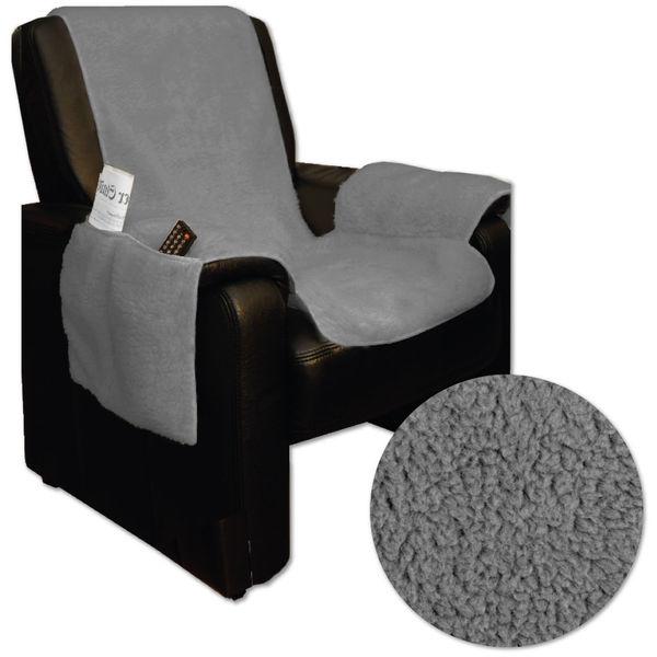 Holzdrehteile Sesselschoner Sesselauflage Sesselbezug Schoner /Überwurf Auflage Lederoptik Graubraun