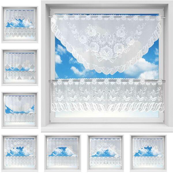 Scheibengardine Bistrogardine Jacquard Set Küchengardine weiß lila Panneaux 2315