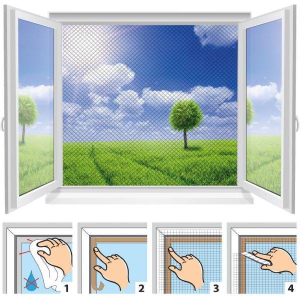 m ckennetz f r fenster moskitonetz insektennetz fliegennetz 4stk 130x150cm ebay. Black Bedroom Furniture Sets. Home Design Ideas