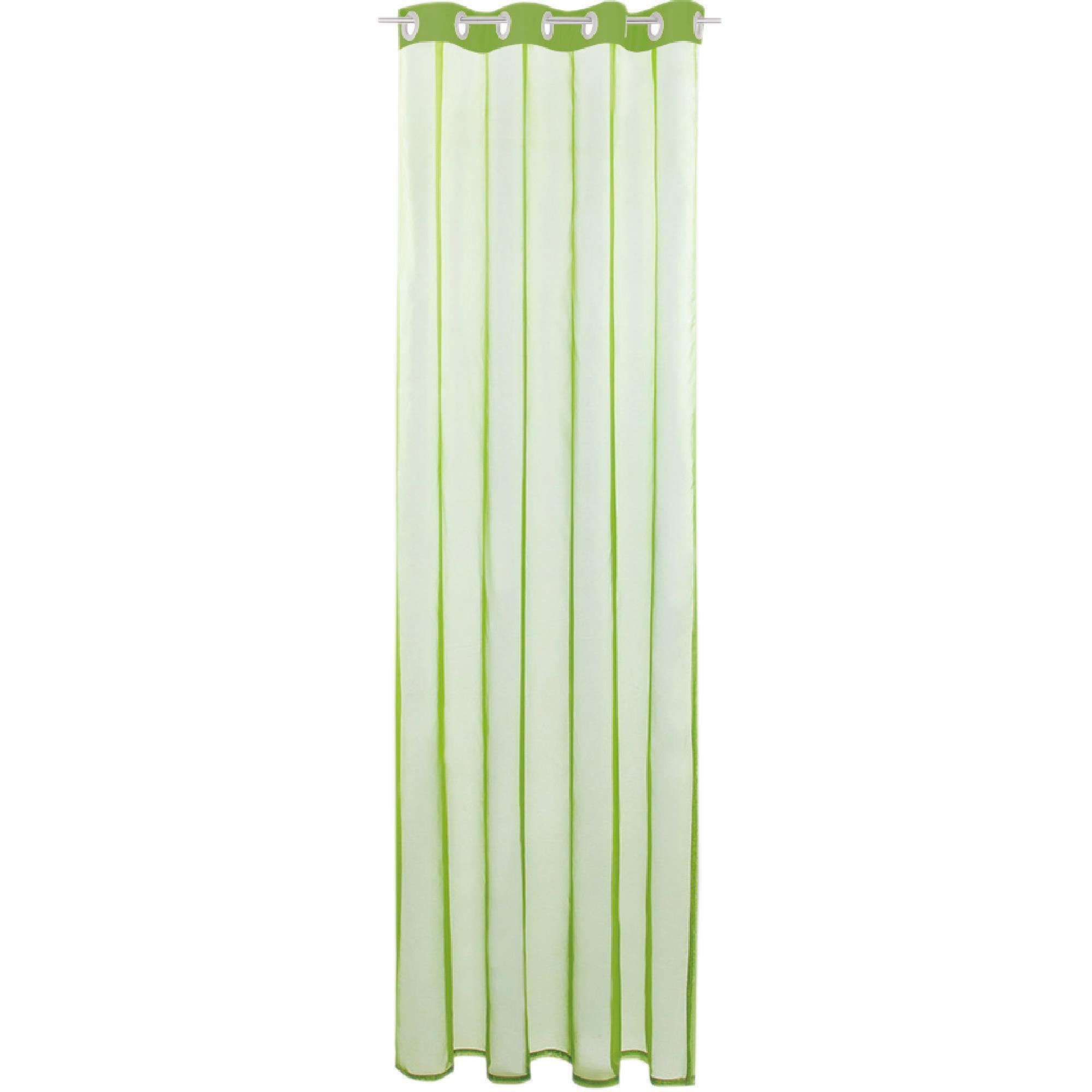 Gardine mit Ösen, Transparent Voile, Uni Ösenschal Vorhang viele Größen / Farben grün - olivgrün