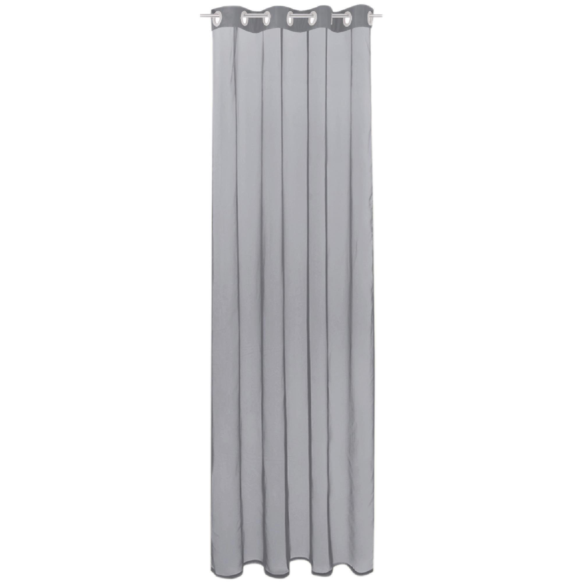 Gardine mit Ösen, Transparent Voile, Uni Ösenschal Vorhang viele Größen / Farben grau - lichtgrau