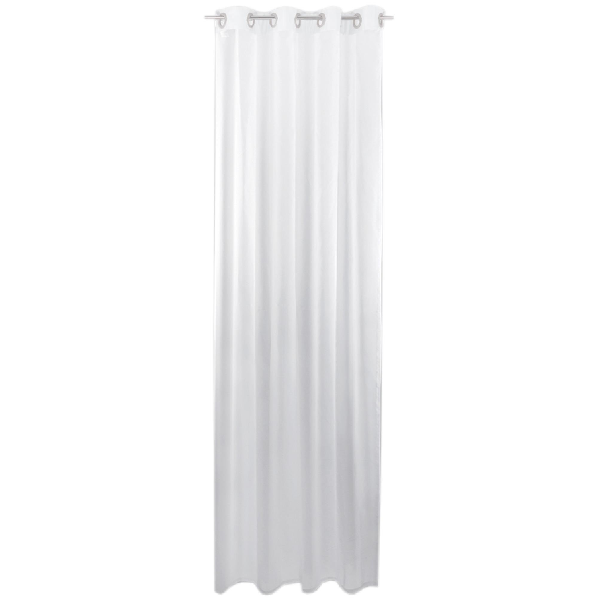 Gardine mit Ösen, Transparent Voile, Uni Ösenschal Vorhang viele Größen / Farben weiß - reinweiß