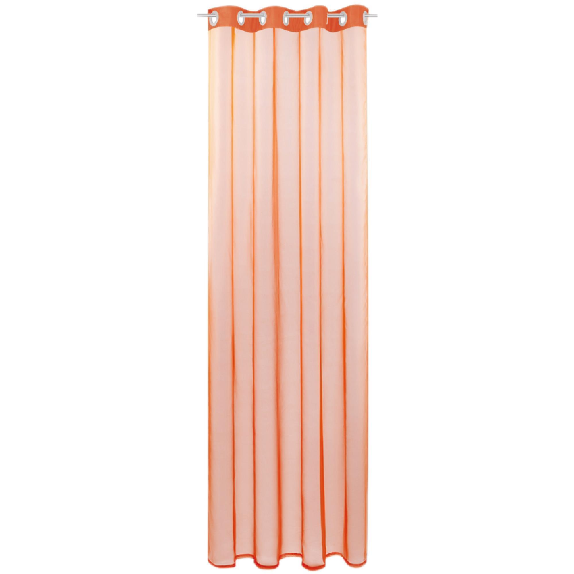Gardine mit Ösen, Transparent Voile, Uni Ösenschal Vorhang viele Größen / Farben orange - möhre