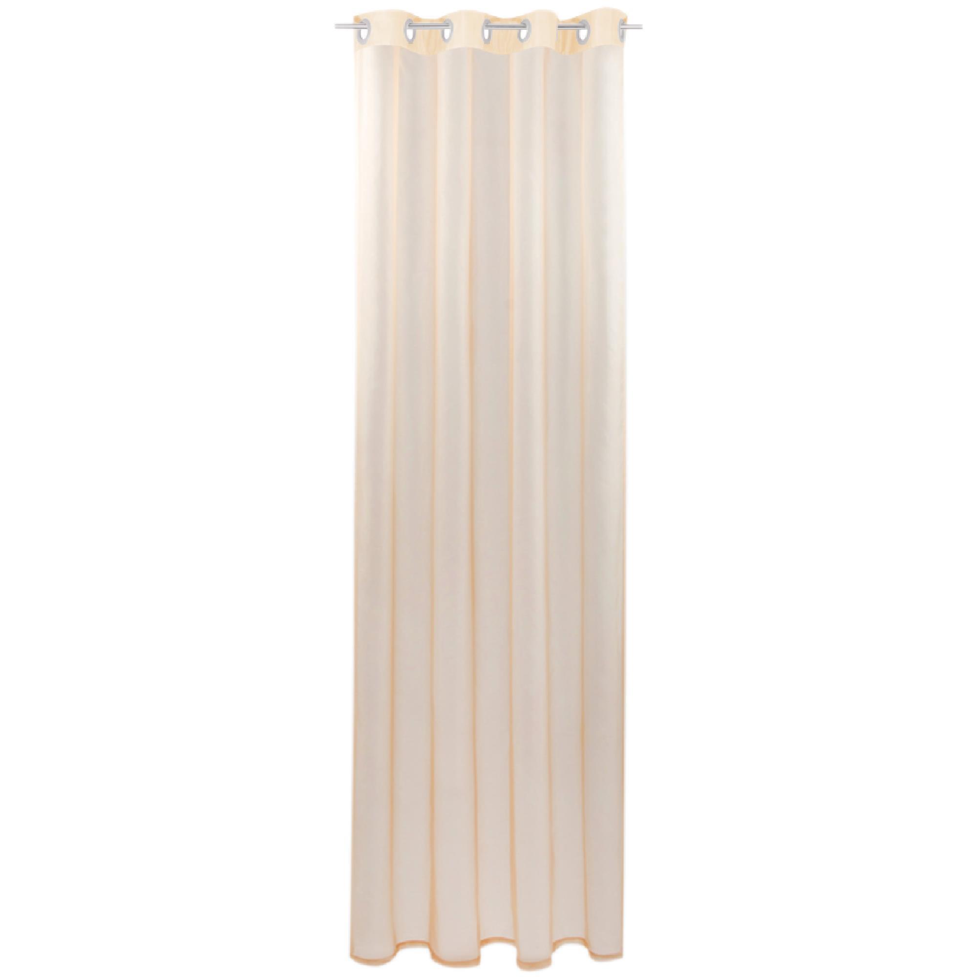 Gardine mit Ösen, Transparent Voile, Uni Ösenschal Vorhang viele Größen / Farben beige - nude