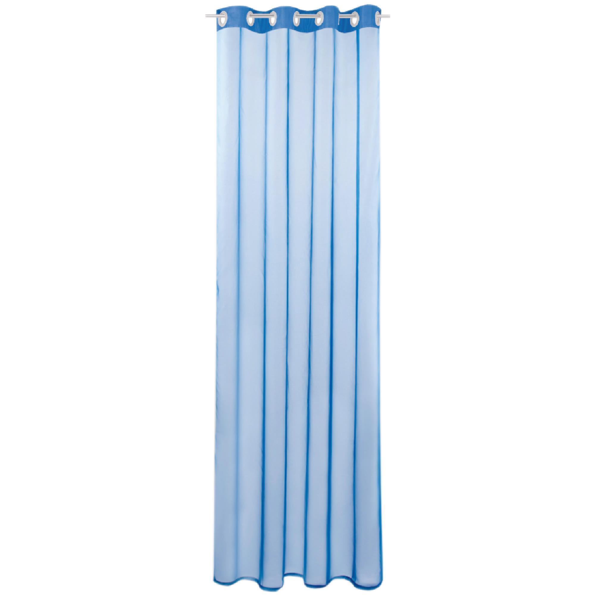 Gardine mit Ösen, Transparent Voile, Uni Ösenschal Vorhang viele Größen / Farben blau - mittelblau
