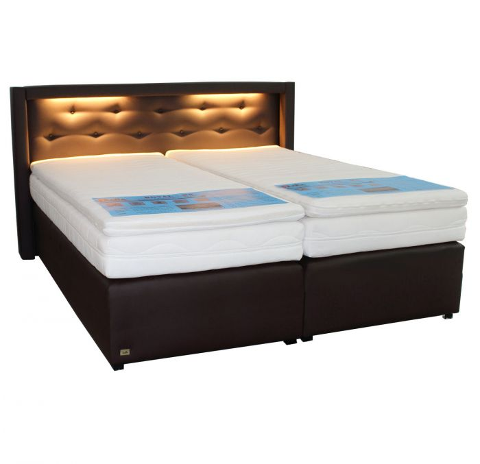 boxspringbett mit led ohne bettkasten polsterbett alle farben matratze 180x200 ebay. Black Bedroom Furniture Sets. Home Design Ideas