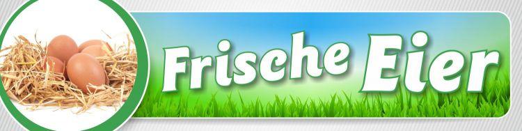"""PVC Werbebanner Banner Plane /""""Frische Eier/"""" Bioeier Verkauf Hofladen mit Ösen"""