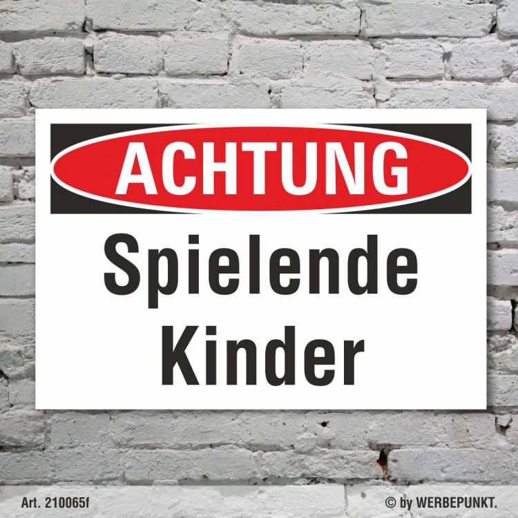Schild Achtung Spielende Kinder Verbotsschild ...