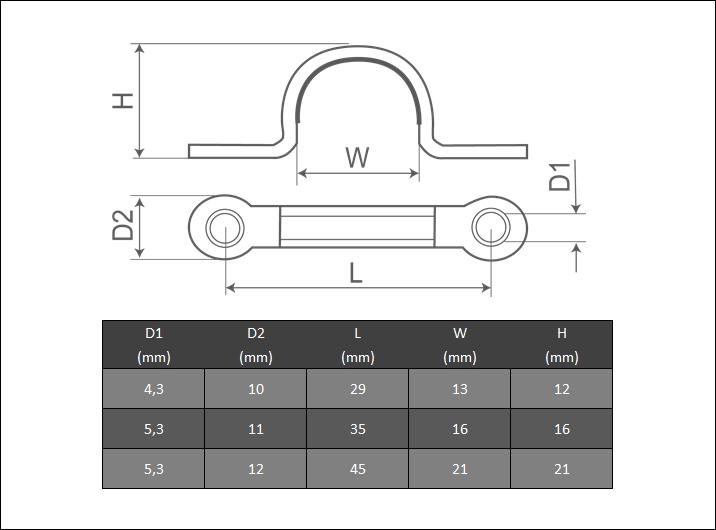 Flachbügel 37 46 56 mm Edelstahl A4 Fenderöse Bügel Öse rostfrei Fenderhaken
