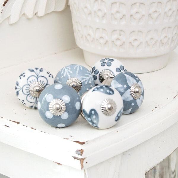 Möbelknöpfe Möbelknopf Möbelgriffe Küche Blumen Porzellan Silver finish