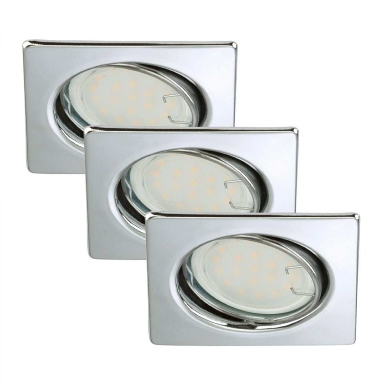 Briloner LED Einbaustrahler Set 3 x 3W Metall Chrom eckig schwenkbar
