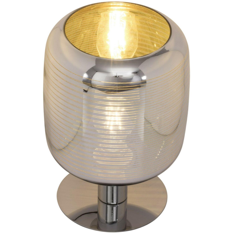 Brilliant Feeling 69847//47 Tischleuchte E27 max 60W Chrom Gold Glas gestreift