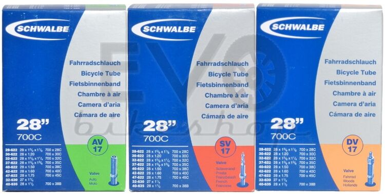 """Schwalbe Schlauch DV17 28/"""" 28//42-622 Dunlop unverpackt"""