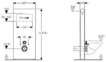 Top Geberit Sanitärmodul Monolith Wand WC 114 cm Höhe Bauhöhe Glas XK24