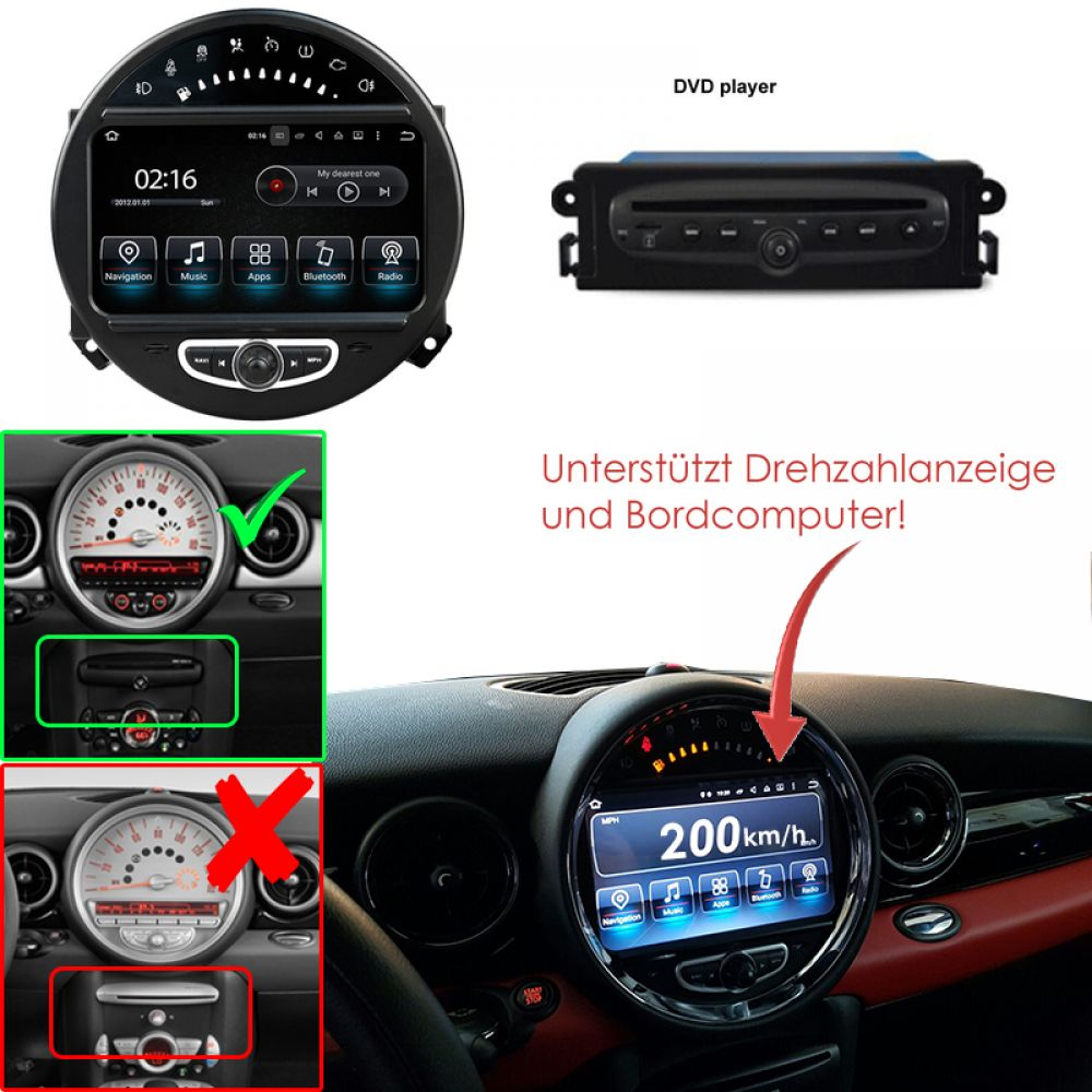 mini cooper pays cran tactile de radio voiture gps. Black Bedroom Furniture Sets. Home Design Ideas