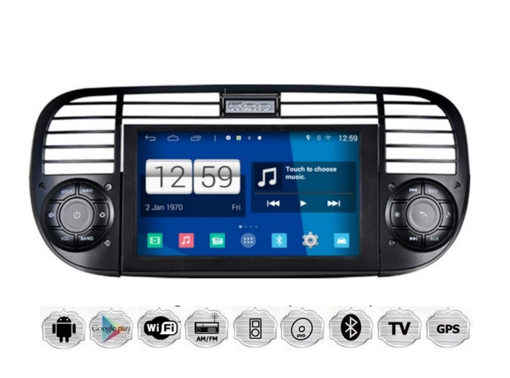 fiat 500 autoradio android gps navigation touchscreen dvd. Black Bedroom Furniture Sets. Home Design Ideas