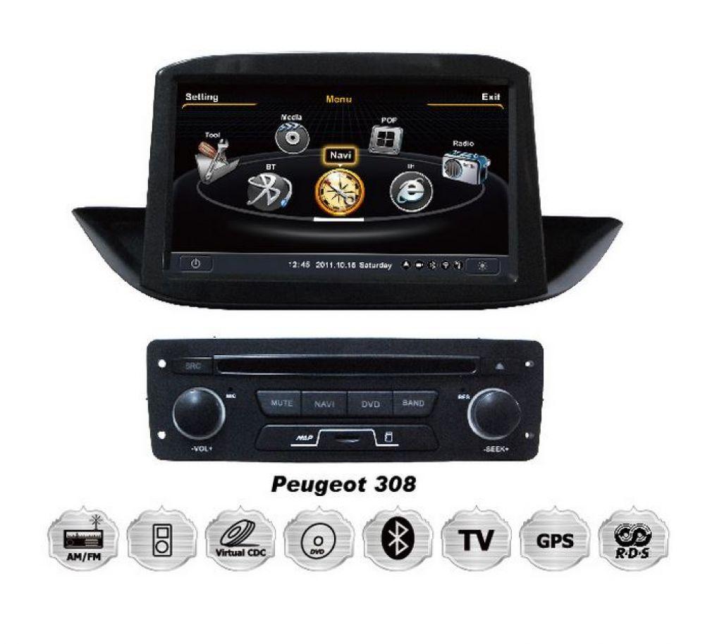 peugeot 308 touchscreen einbau autoradio dvd 3d gps. Black Bedroom Furniture Sets. Home Design Ideas