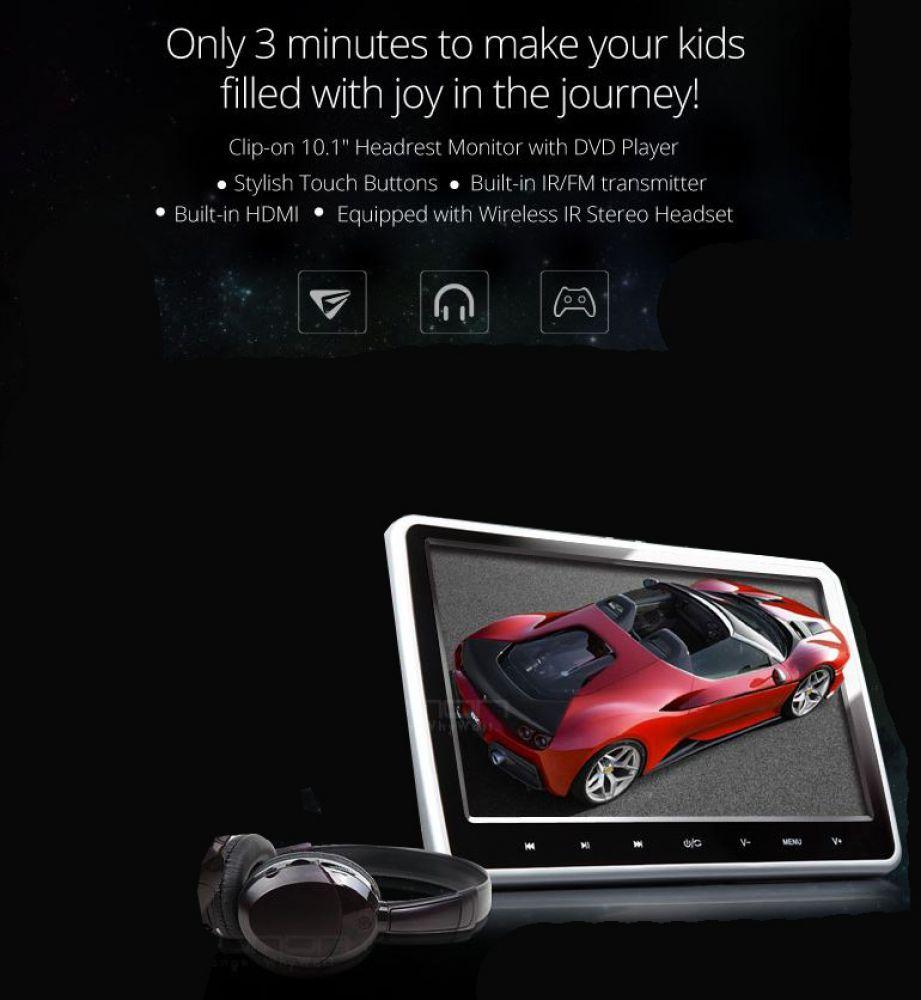 hd 10 1 cran pour appui t te voiture avec lecteur dvd. Black Bedroom Furniture Sets. Home Design Ideas