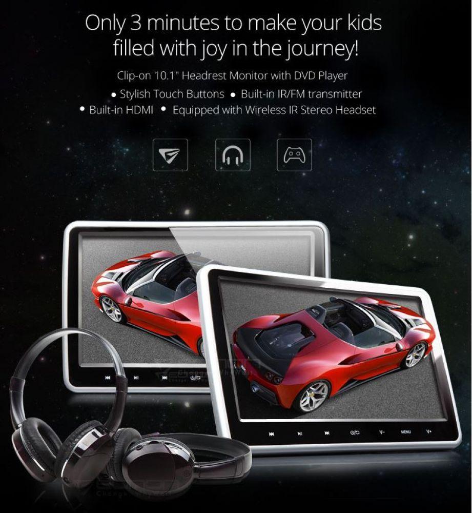 2x hd 10 1 monitor f r auto kopfst tzen dvd player usb. Black Bedroom Furniture Sets. Home Design Ideas