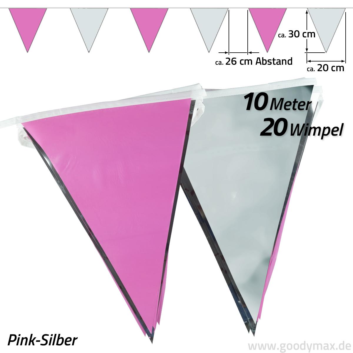 10 m Wimpelkette Wimpelgirlande Schwarz Rosa Party Geburtstag Deko