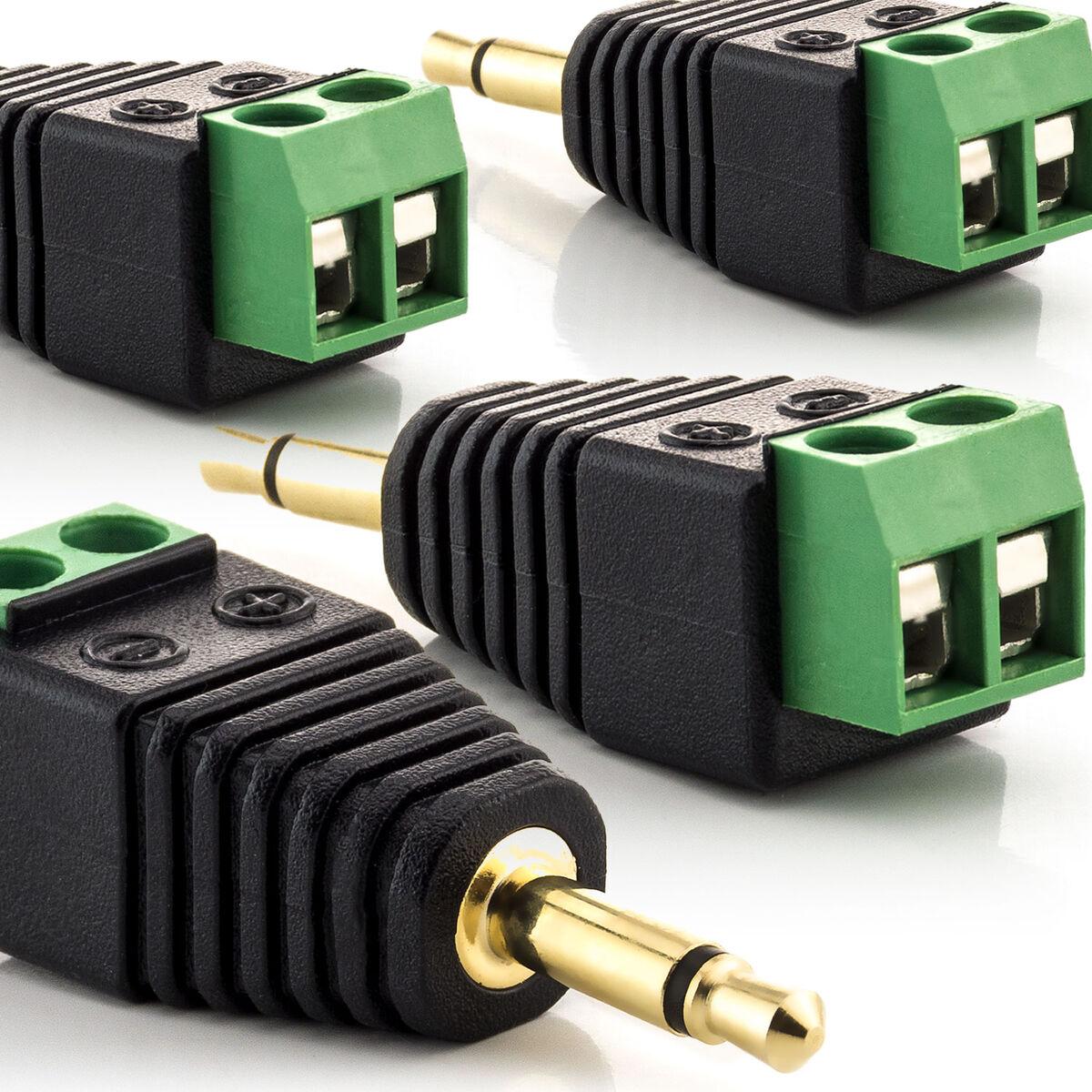Klinke AUX Adapter Stecker 3,5 mm zu Terminal Block 3-Pin Schrauben vergoldet