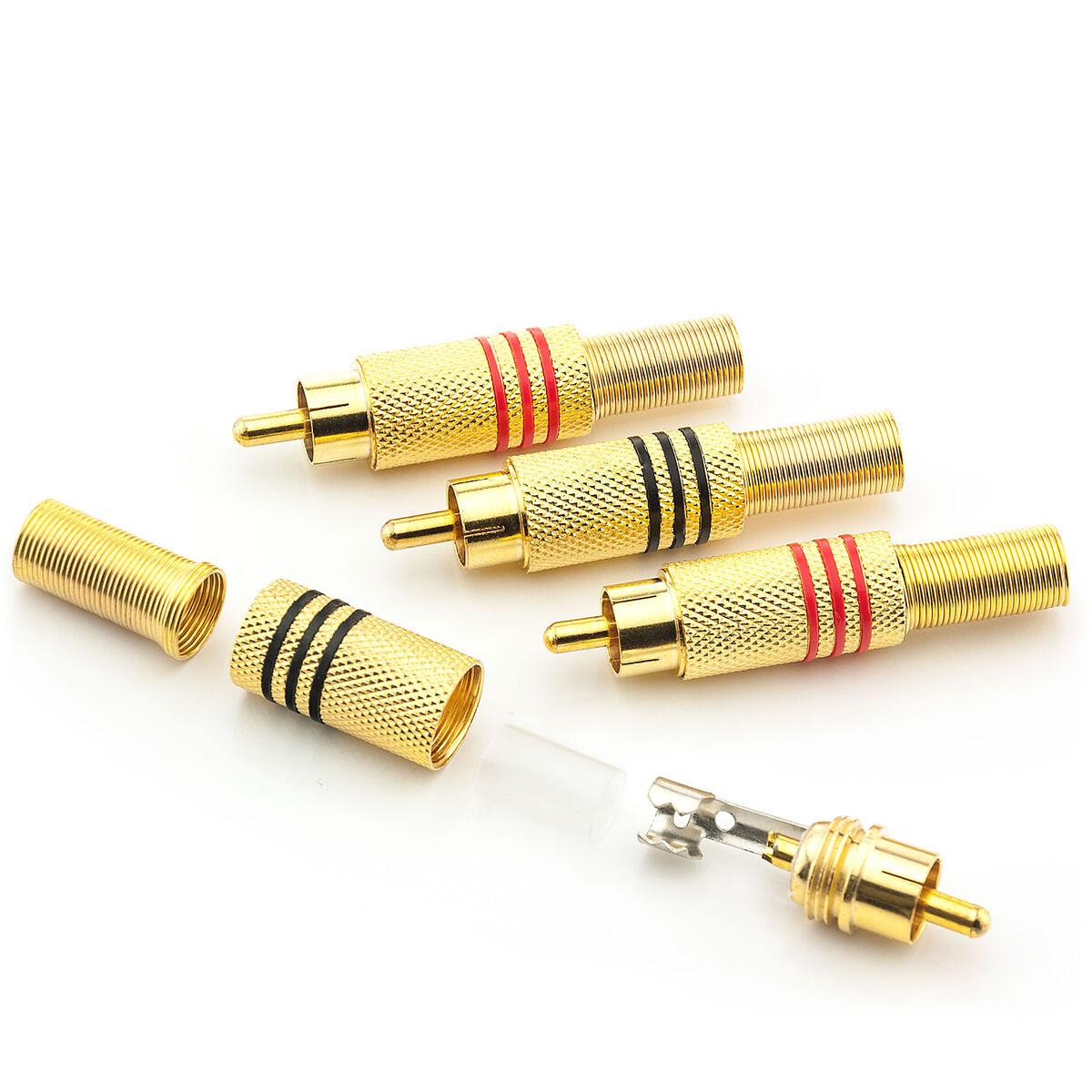 Zanasta 2 x Cinch Stecker vergoldet Metall Ø 6 mm Knickschutz Chinch Kabel Rot
