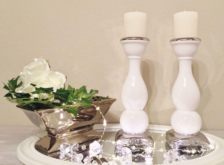 DRULINE 2 x 31 cm Keramik Kerzenleuchter Silber Kerzenst/änder Kerzenhalter Shabby Chic