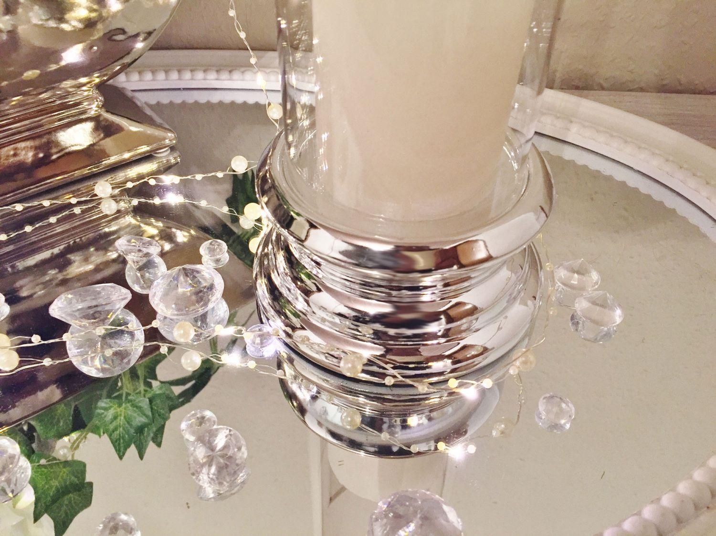 Keramik glas windlicht kerzenhalter kerzenständer silber shabby