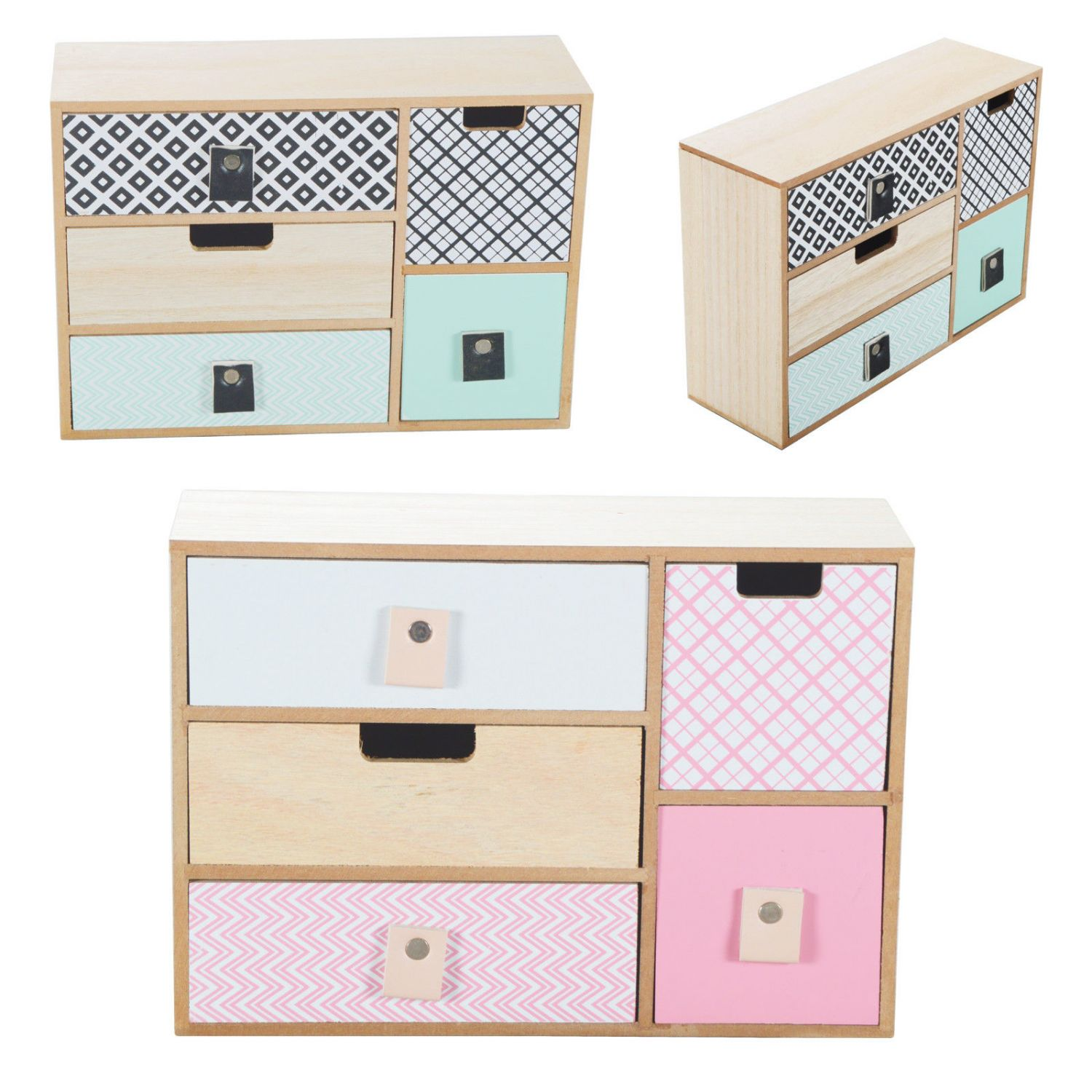 mini kommode kommode schr nkchen holz shabby chic 5 schubladen schrank bunt ebay. Black Bedroom Furniture Sets. Home Design Ideas