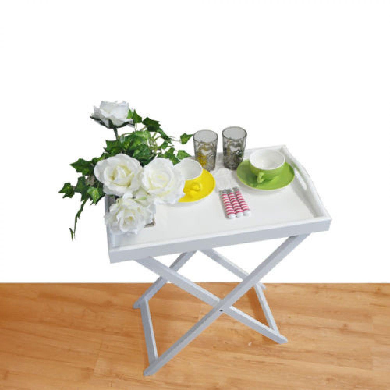 Holz Tabletttisch Serviertisch Tablett Beistelltisch Klapptisch Ablage Tisch