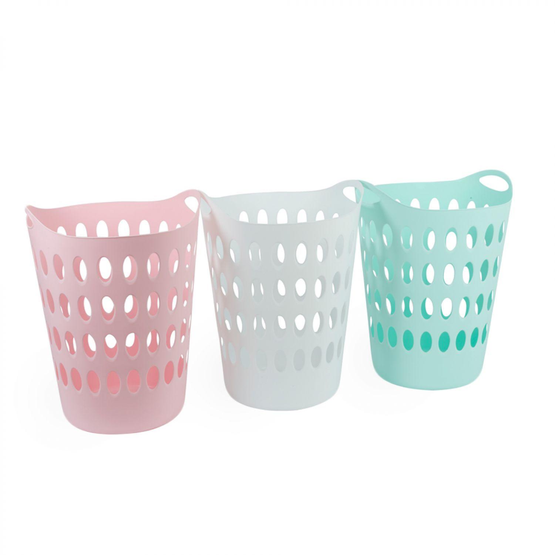 Wäschekorb weiß Plastik Wäschesammler Aufbewahrungskorb Bad Kunststoff Kleider