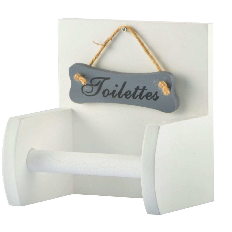 Toilettenpapierhalter Klopapierhalter Rollenhalter Shabby Chic Landhaus Holz WEI