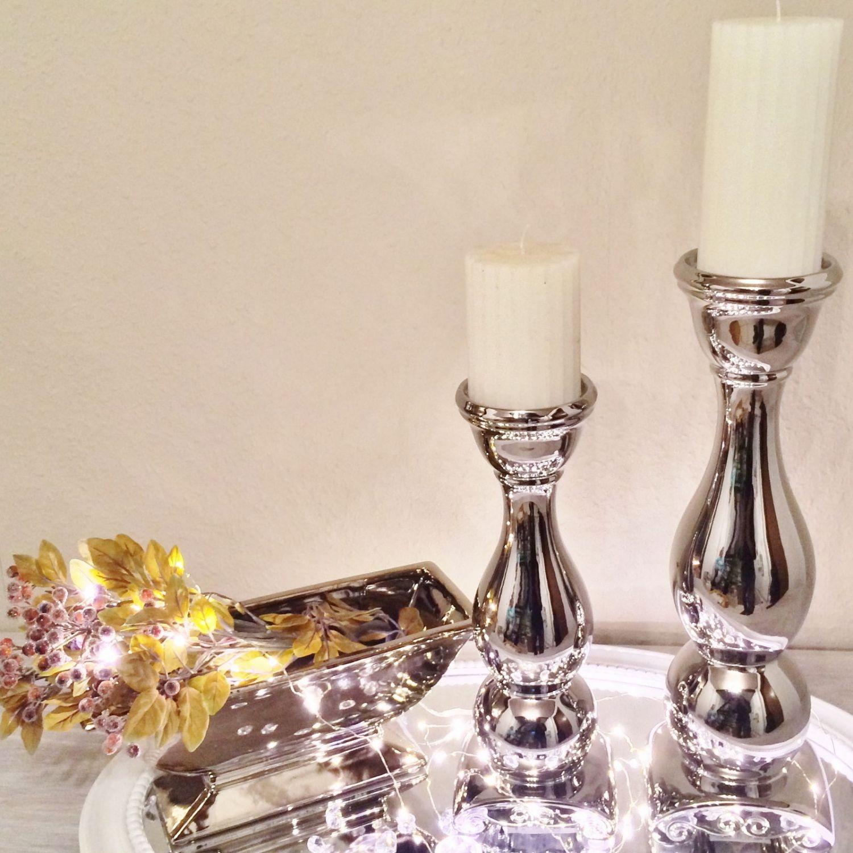 Dekoration Silber.Kerzenleuchter F1 Kerzenständer Kerzenhalter Deko Keramik