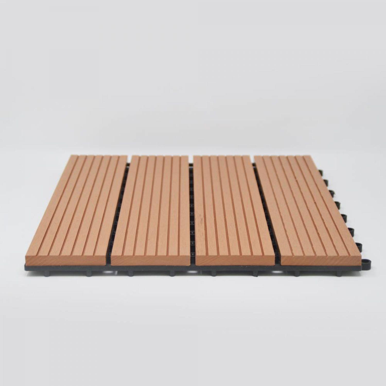 6er-set plastique wpc klickfliesen balkonfliese carrelage bois
