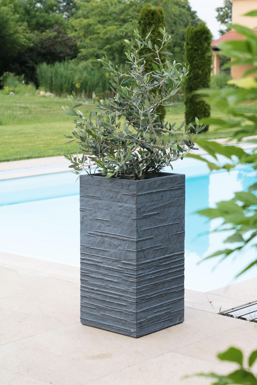 details zu pflanzkübel pflanzgefäß blumenkübel beton design eckig  anthrazit-grau