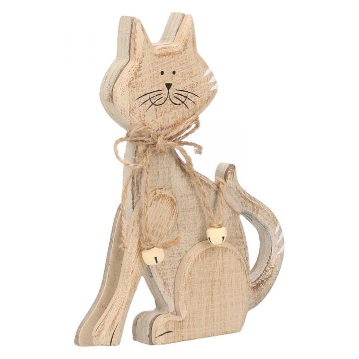 Katze Deko Figur Holz sitzend 16x9cm Braun Creme mit Glocken Dekoration