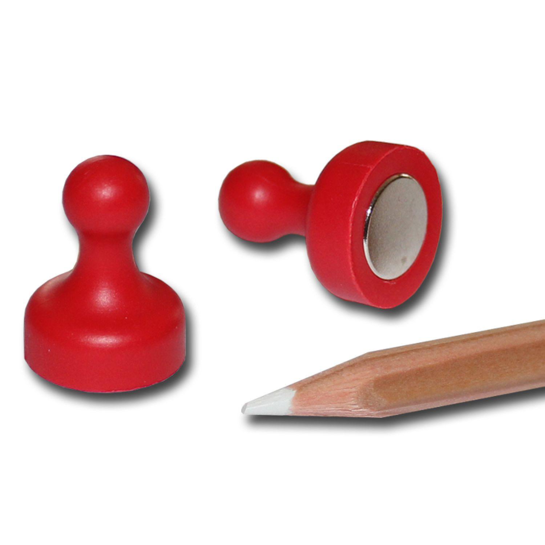 10 NEODYM Pinnwand Kegel Magnete D19x25 mm Rot Kühlschrank Schule Büro Board