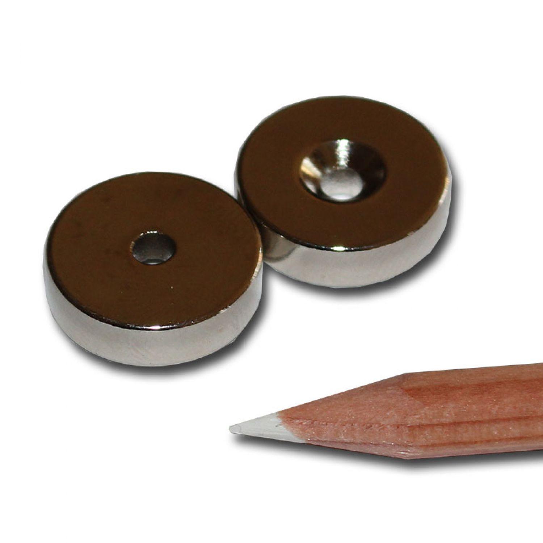 20 NEODYM RING MAGNETE D18x5 mm NORD 3,5mm BOHRUNG SENKUNG LOCH ANSCHRAUBEN 8 KG