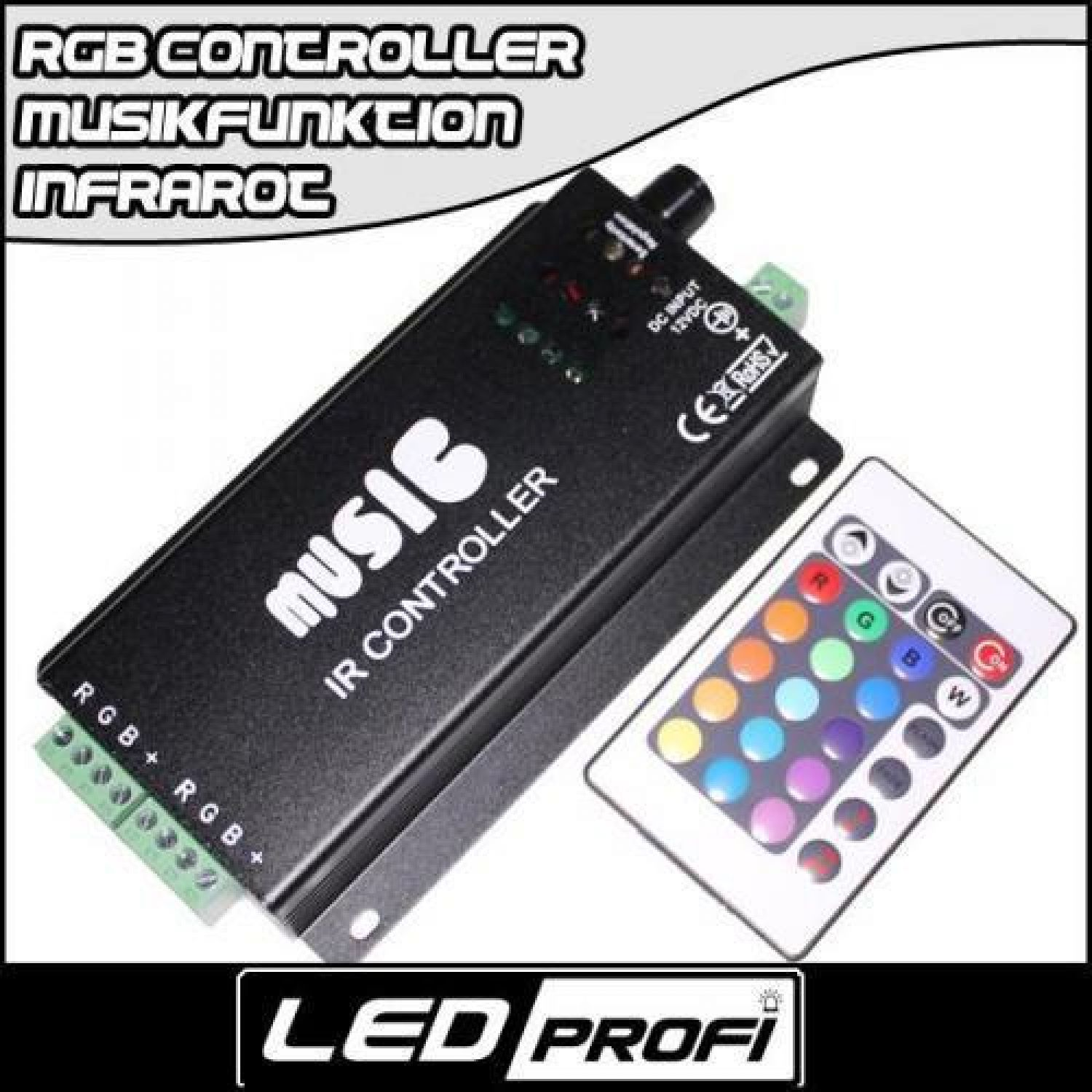 rgb led musik controller mit 24 tasten infrarot fernbedienung 180w streifen 5050 ebay. Black Bedroom Furniture Sets. Home Design Ideas
