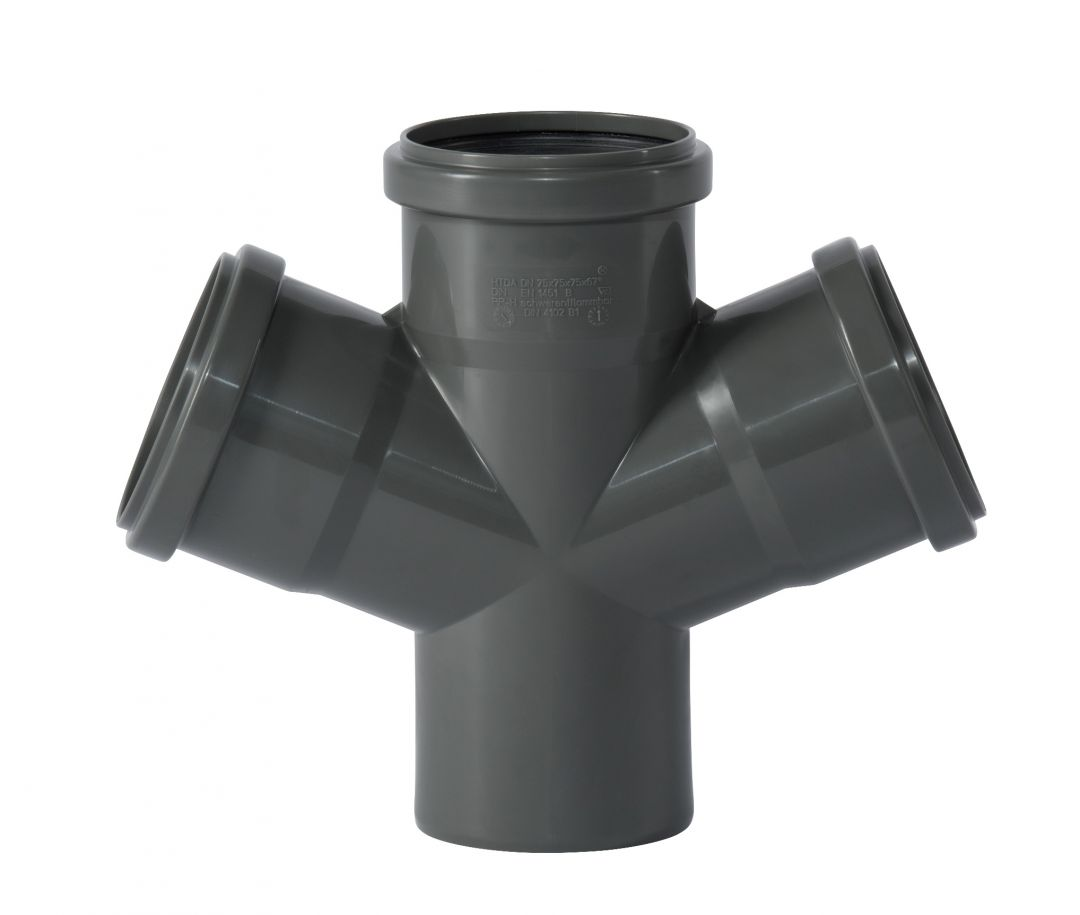 HTsafe Abzweig 87° Grad DN50//50 mit Dichtring HTEA Abflussrohr Abwasserrohr