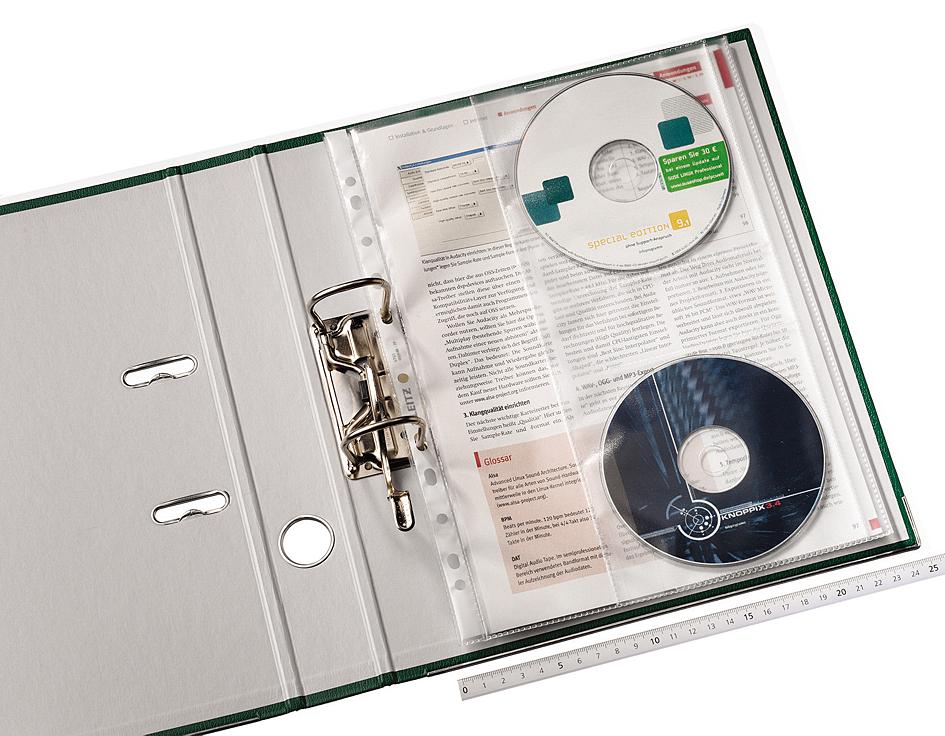 LEITZ Prospekthülle mit CD Klappe A4 PP genarbt 0,12 mm Inhalt 5 Stück