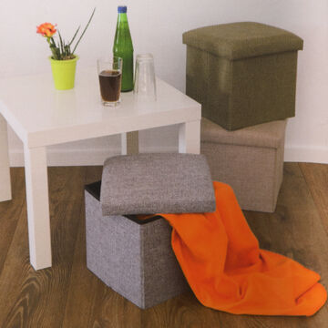 Sitzbox mit Aufbewahrungsmöglichkeit Sitzwürfel Sitzhocker Stoff Sitztruhe Box